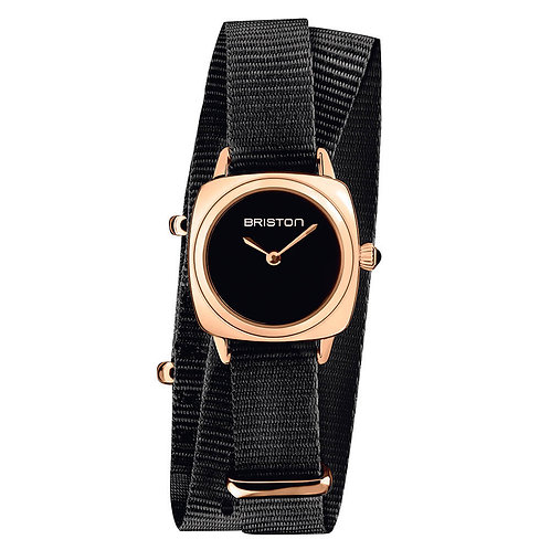 HOUR-MINUTE STEEL, BLACK DIAL AND ROSE GOLD, BLACK DOUBLE TOUR NATO STRAP