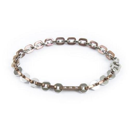 Bracelet hexlink, pvd pink and zircons