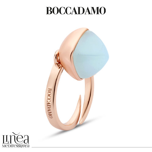 Rose gold plated ring with aquamarine crystal