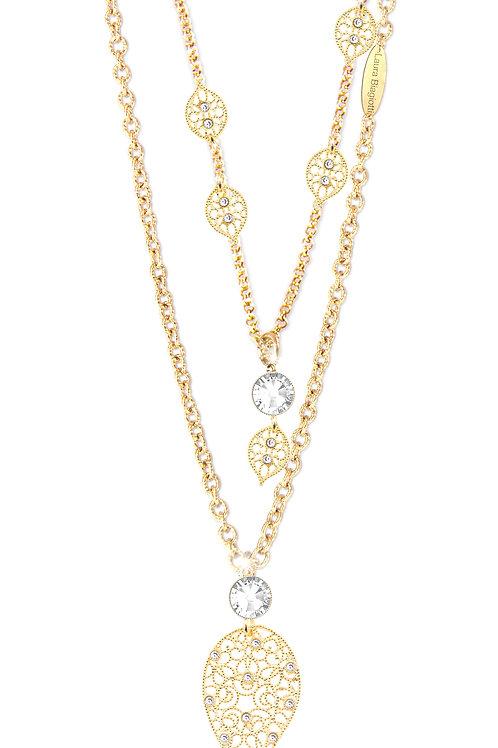 CROCHET necklace  C16 /Swarovski stones