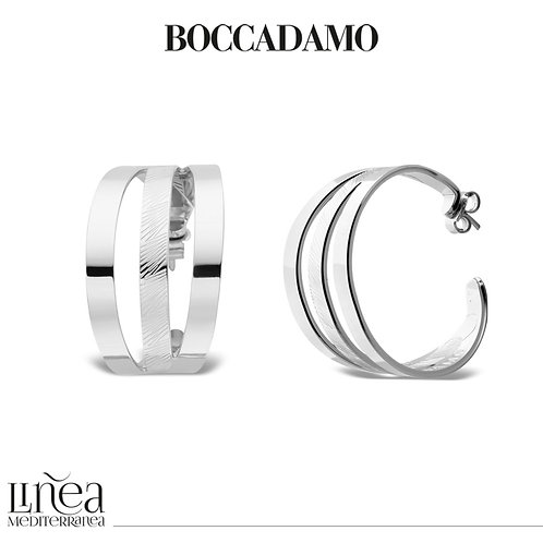 Rhodium-plated crescent earrings