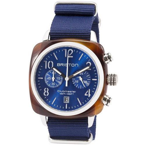 CHRONOGRAPH TORTOISE SHELL ACETATE, BLUE SUNRAY DIAL AND NAVY BLUE NATO STRAP