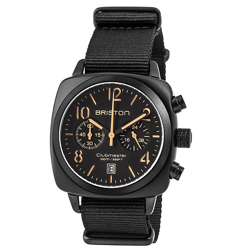 CHRONOGRAPH MATT BLACK ACETATE, MATT BLACK DIAL AND BLACK NATO STRAP