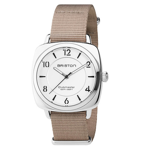 HMS STEEL, WHITE DIAL AND TAUPE NATO STRAP