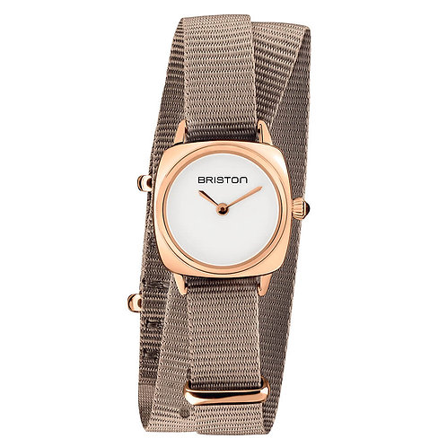 HOUR-MINUTE STEEL, WHITE DIAL AND ROSE GOLD, TAUPE DOUBLE TOUR NATO STRAP