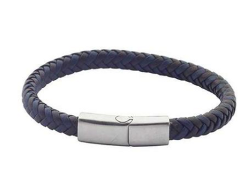 Bracelet in blue leather and braided brown