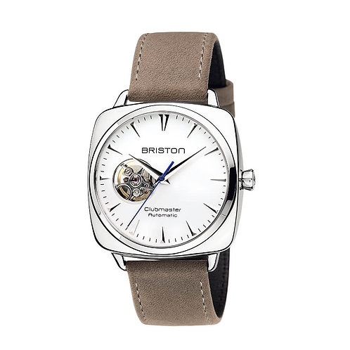 OPEN AUTOMATIC HMS, BLACK DIAL AND TAUPE VINTAGE LEATHER 2-PART STRAP