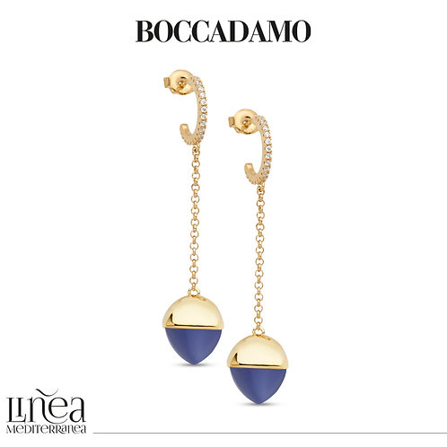 Crescent earrings with zircons and tanzanite-colored crystal