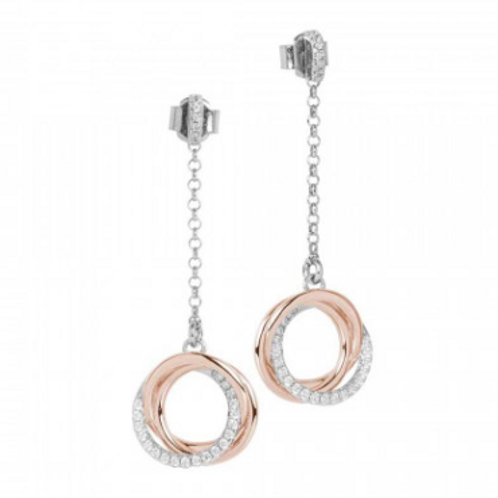 Two-tone pendant earrings with smooth intertwined circles and zircons