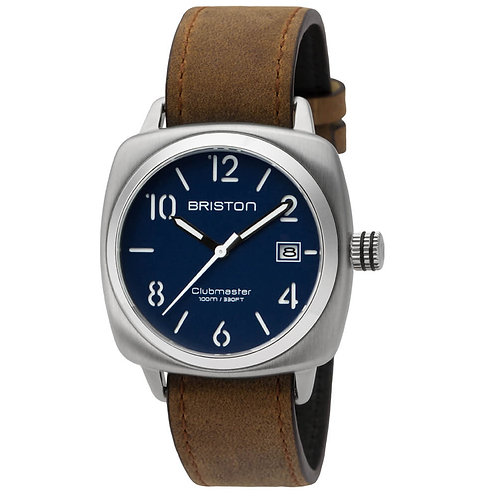HMS STEEL, MATT NAVY BLUE DIAL AND BROWN VINTAGE LEATHER STRAP