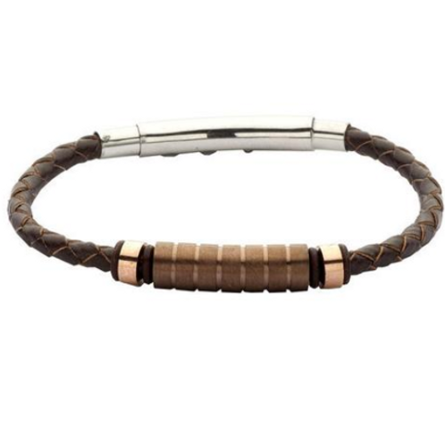 Bracelet in brown leather, PVD and steel