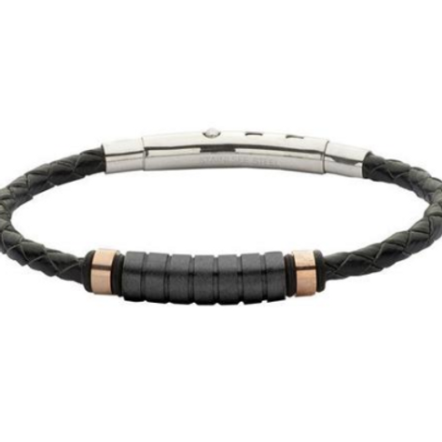 Bracelet in black leather, black PVD