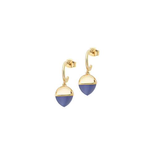 Crescent earrings with tanzanite-colored pyramidal crystal