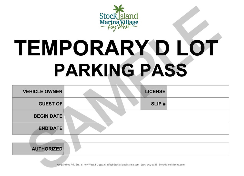 Example Lot D Parking Pass