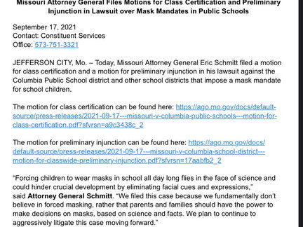 Missouri Attorney General Files Motions- Class Certification and Preliminary Injunction in Lawsuit