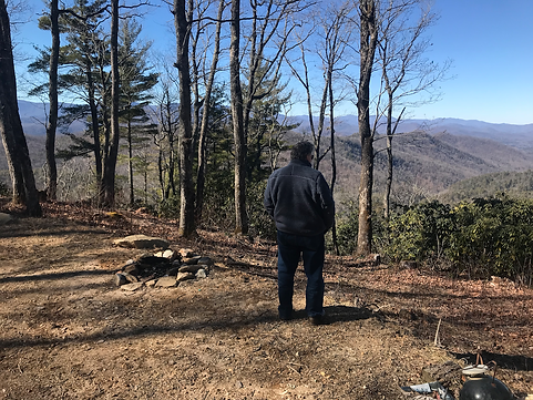 Pastor Steve Kerhoulas at new church site Scaly Mountain NC