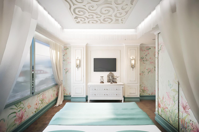потолок с резными узорами