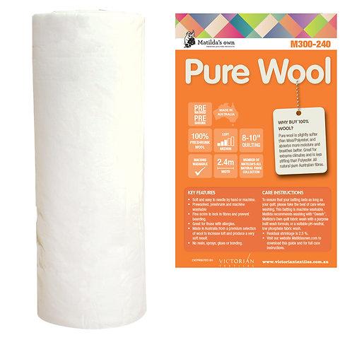100 % Wool wadding / batting 240cm wide $38/m