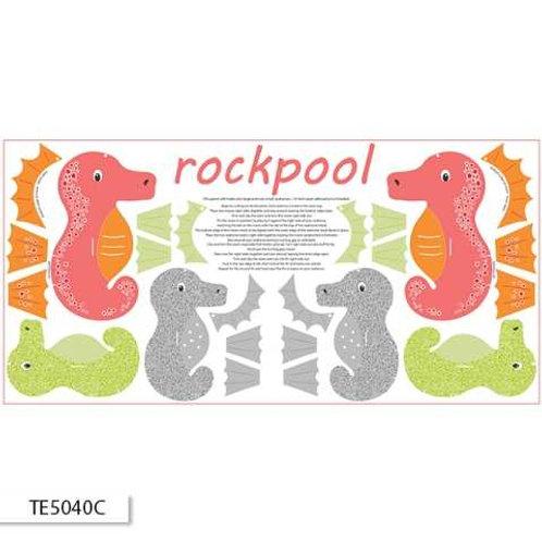 Ella Blue Ric Rac Rockpool $10.80/panel Coral Seahorse Panel