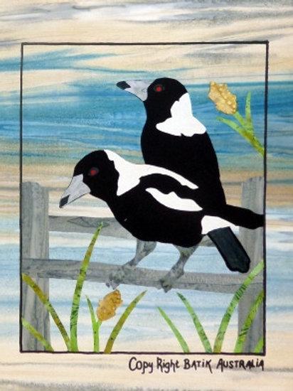 Quilt Top Kit - Batik Backyard Birds 1/4 panel4