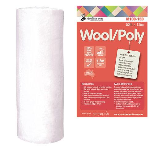 60% Wool / 40% Poly wadding / batting 240cm wide