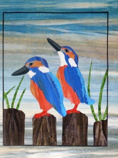 Quilt Top Kit - Batik Backyard Birds 1/4 panel 2