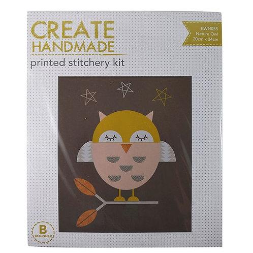 Nature Owl Printed Stitchery Kit