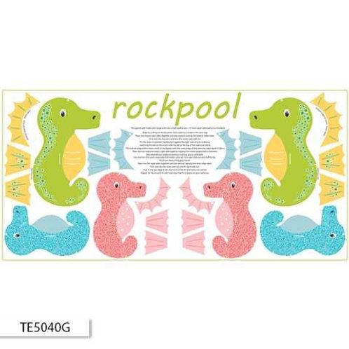 Ella Blue Ric Rac Rockpool $10.80/panel Green Seahorse Panel
