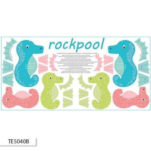 Ella Blue Ric Rac Rockpool $10.80/panel Blue Seahorse Panel