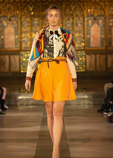 Pixie monogram dress in beige and tangerine.