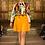 Thumbnail: Pixie monogram dress in beige and tangerine.
