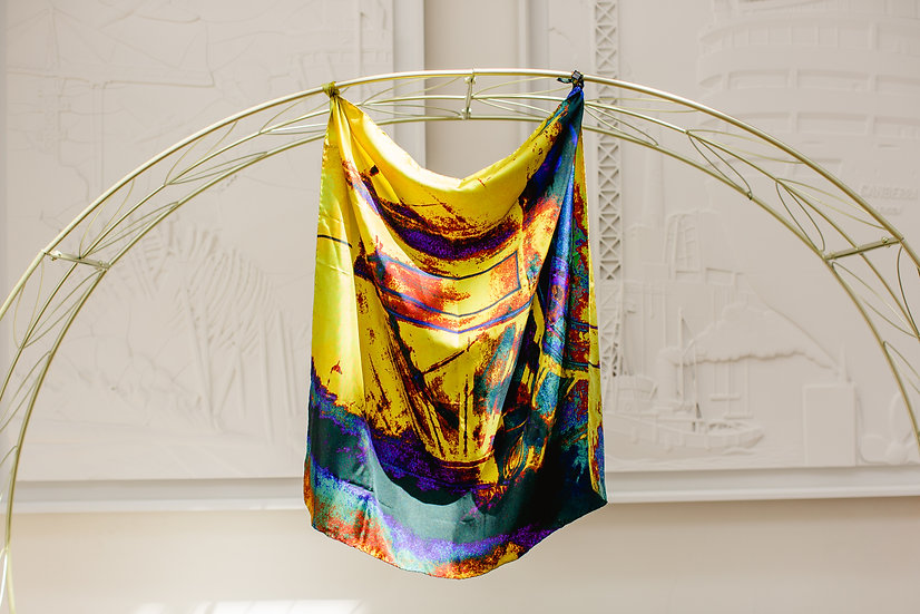 abstract train print scarf