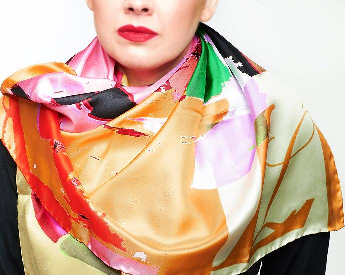 Picasso logo print silk scarf