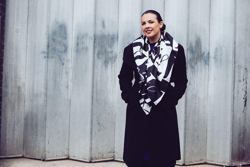 Monochrome Lavine signature silk scarf