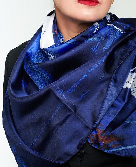 steamtrain wheel printed silk scarf