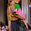 Thumbnail: Faux leather skirt with hand painted and embellished trim, size 12