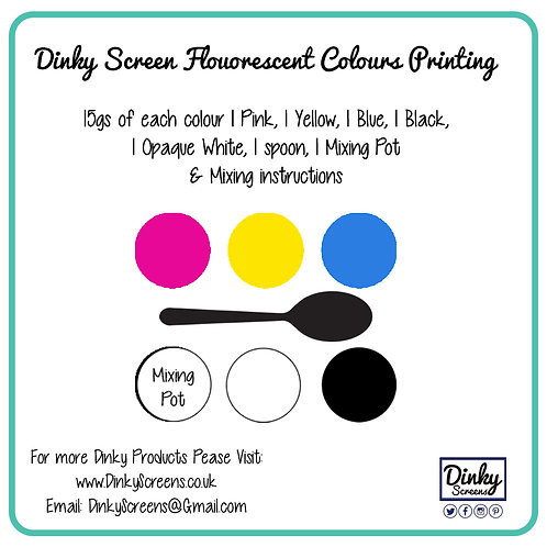Dinky Screens Bright Colours Printing Inks Set Dinky Screen x 20ml Inks