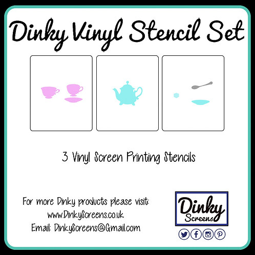 Tea Party Screen Printing Vinyl Stencil Set of 3