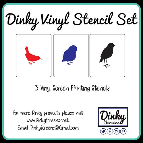 Garden Birds Screen Printing Vinyl Stencil Set of 3