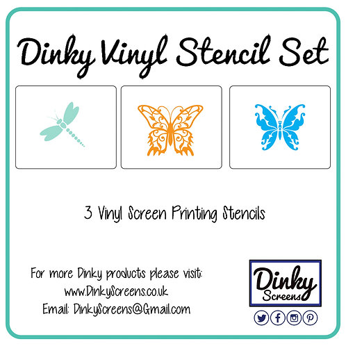 Dragonfly & Butterflies Screen Printing Vinyl Stencil Set of 3