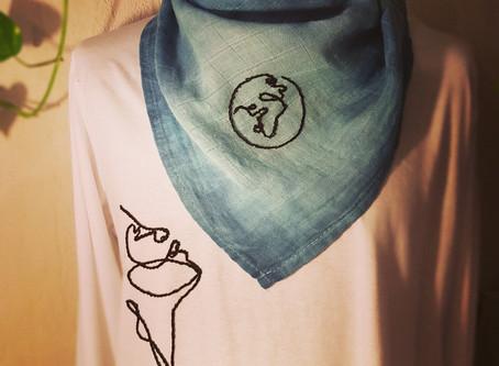 Fine embroidery minimalistische Linienstickerei, Stielstich