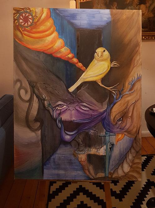 Ölgemälde mit einem gelben Vogel im Mittelpunkt