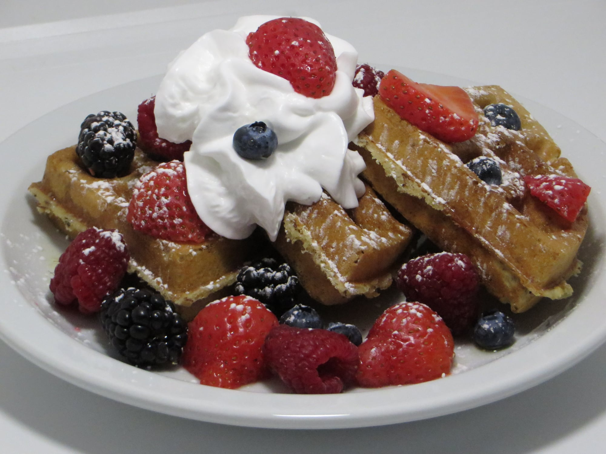 Waffles, Berries & Optional Coconut Cream