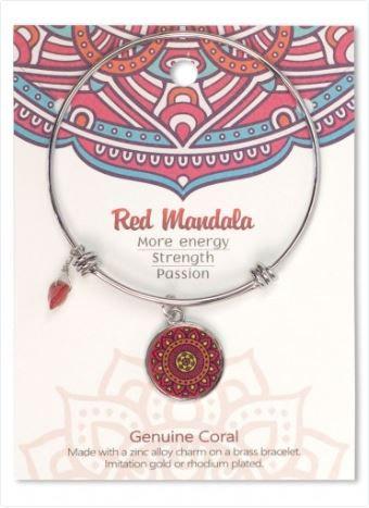 Adjustable Bracelet Mandala Red Coral