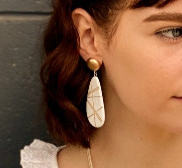 The Rae Rae Earring in White and Gold
