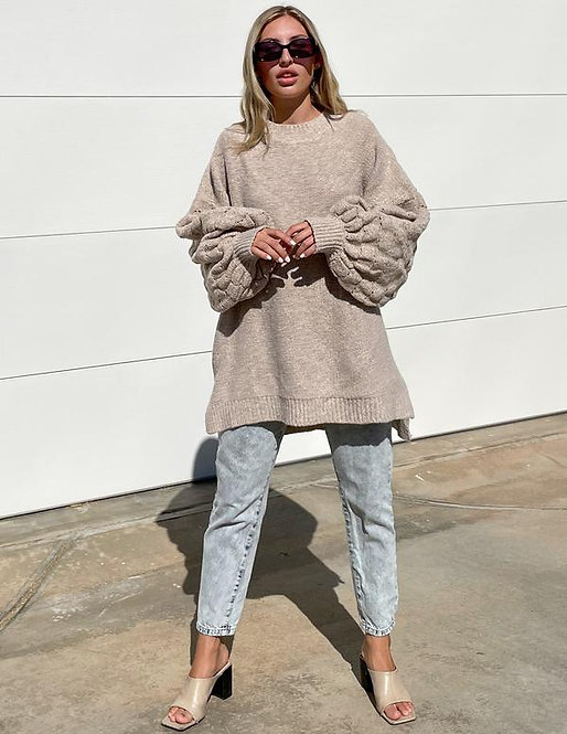 The Puff Sleeved Jersey in Oatmeal