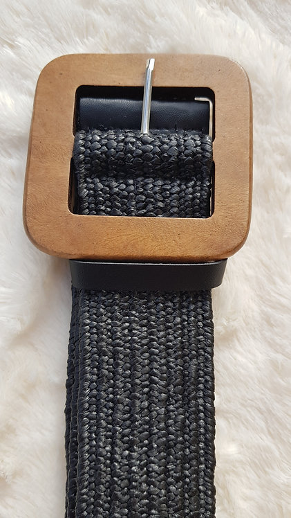 Stretchy Belt with Wood Buckle in Black