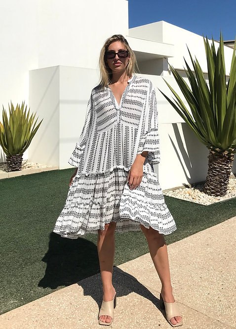 SMOCK DRESS in White and Black