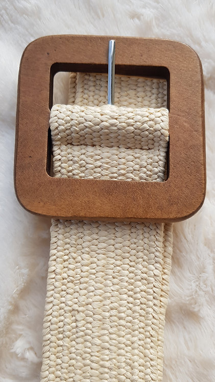 Stretchy Belt with Wood Buckle in Cream