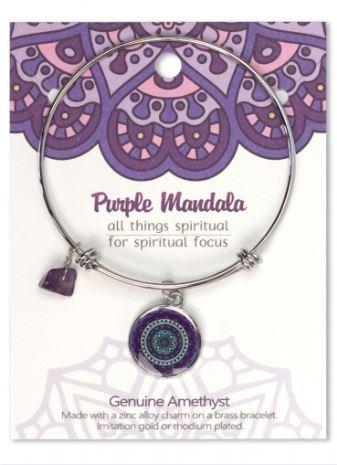 Adjustable Bracelet Mandala Purple Amethyst